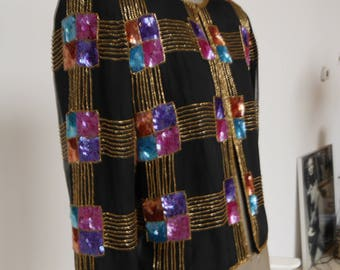 80s silk bolero jacket with sequins and beads Papell Boutique