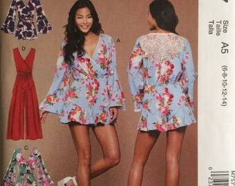McCall's M7577, Size 6-8-10-12-14, Misses' Romper, Jumpsuit and Belt Pattern, UNCUT, Loose Fitting, Pull On, Wedding, High Fashion, Ruffles