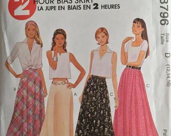 McCall's 8796, Size 12-14-16, Misses' Skirts Pattern, UNCUT, A-Line Skirt, Gored Skirt, 2 Hour Bias Skirt, Variations, 1997, Vintage