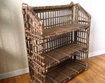 Vintage Brown Slatted Wicker Rattan Tiered Shelf Rack