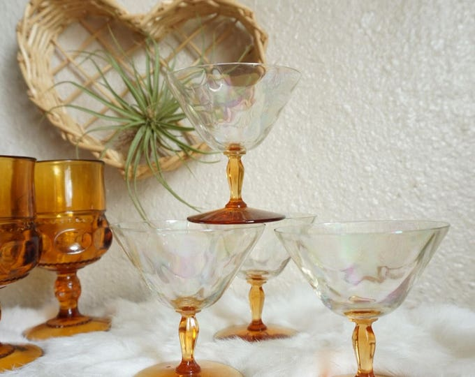 Gorgeous Iridescent and Amber Orange Stemmed Martini Glassware - Set of 4