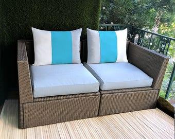 SIX Sunbrella Pillow Covers, Blue, White, Grey Stripe, IKEA ARHOLMA