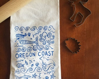 Flour Sack Tea Towel - Oregon Coast - Hand Printed Original illustration - Coast, Beach, Cannon beach, Astoria, Seaside, Lincoln City