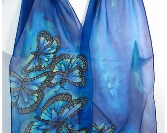 "Butterfly Silk Scarf. Blue Silk Scarf. 11""x59"". Painted silk scarf. Silk Painted Scarf. Hand painted Silk Scarves. Silk Scarf handpaint"