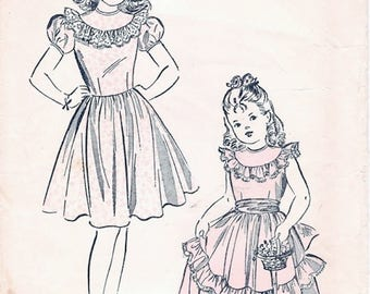 Adorable Vintage 1940s Advance 5170 Girls Ruffle Trimmed Party Flowergirl Dress Sewing Pattern Sz 6