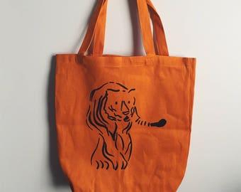 Tiger Tote Bag Screenprint Illustration in Orange