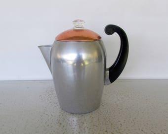 Aluminum Coffee Pot Vintage Percolator Stove Top Wear-Ever Copper Lid Hallite No. 3088