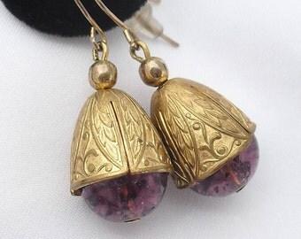 Vintage Amethyst Glass Earrings - Art Nouveau Style