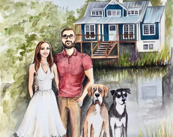 "8""x10"" Custom Portrait Illustration - With Home or Favorite Place - Watercolor Painting"