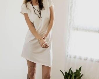 White T shirt Dress, Women white dress, Asymmetrical Dress, Open Back Dress, Summer Dress, Casual mini dress