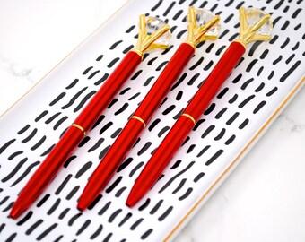 Shiny RUBY RED DIAMOND Top Crystal Gem Pen Wedding Diamond Planner Sparkle School