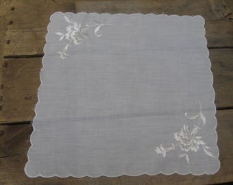 White Floral Embroidered Hankie, Pocket Handkerchief, Something Old Wedding Hankie, Ladies Hanky, White Handkerchief, Bridal Hankie