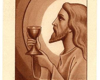 I Am the Living Bread Jesus Communion Antique Art Deco French with Latin Holy Prayer Card, Christian Catholic Ephemera, Vintage Paper Attic