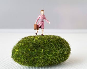 Miniature World Terrarium People Tiny Woman in Pink Coat Suitcase Summer HO Scale Hand painted One of a Kind Railroad Figure