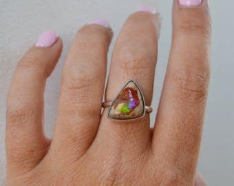 Mexican Fire Opal Ring, Colorful Raw Opal Gemstone Ring, Sterling Silver Ring, Silver Stone Ring, One of a Kind Cocktail Ring