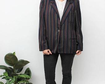 1980s Planet Striped Wool Blazer Size UK 12, US 8, EU 40