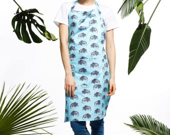 Handmade armadillo apron, turquoise apron