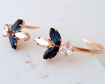 Rose gold bracelet,Navy blue bracelet,Bridal Bracelet,Bridemsmaids bracelet,Cuff Bracelet,Open cuff Bracelet,Crystal adjustable Bracelet