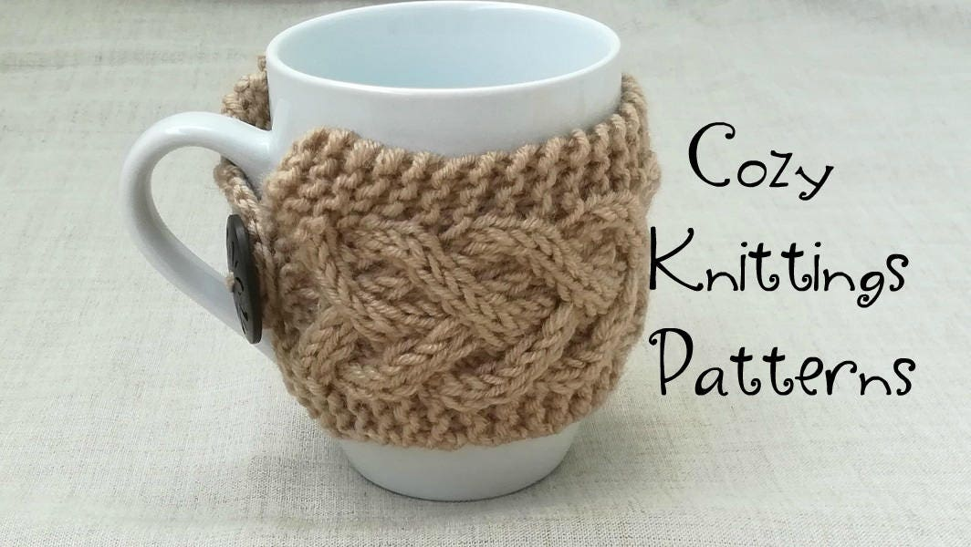 Cup cozy pdf pattern hand knit cup cozy coconut button mug for Cup cozy pillow