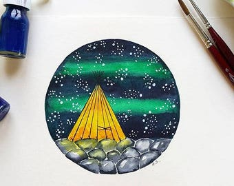 Original Watercolor painting art illustration Teepee Camping Tent Stars Starry sky