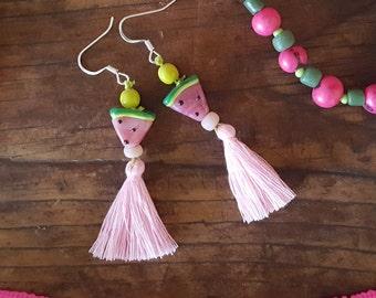 Watemelon Hand Blown Glass Bead and Tassle Earrings
