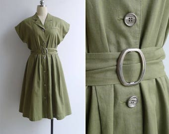 10-25% OFF Code In Shop - Vintage 80's 'Safari' Moss Green Cotton Linen Dress with Belt M or L