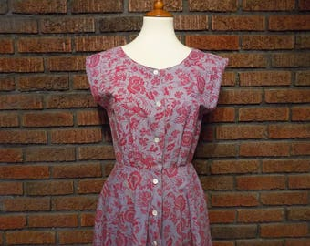 Vintage 80s Banana Republic Batik Print Jumper Dress Women's S / Size 4
