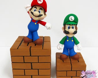 Mario Bros. Cake Toppers - Keepsake MARIO and LUIGI (Polymer Clay)