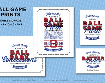 Take Me Out to the Ball Park, Baseball Printable Party, Ball Game Ball Park Baseball Theme, Personalized Signage