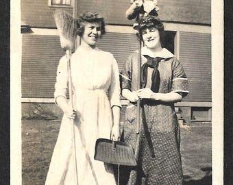 "Vintage Snapshot ""Clean Up Day"" Women With Broom, Dustpan Mop Handwritten Caption Found Vernacular Photo"