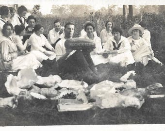 """Vintage Snapshot """"Rochester Family Reunion"""" Watermelon Picnic 1910's Dresses Hats Found Vernacular Photo"""