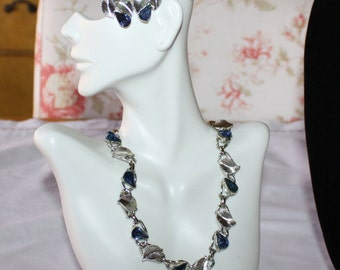 Stunning Vintage Indigo Blue Rhinestone Necklace and Earring Set