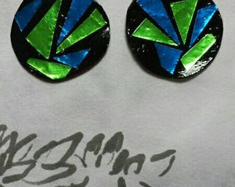Stained Glass Earrings,mosaic, green and blue, team colors, sports, football,soccer,blue, green,colorful, shiny, paper, lightweight,colorful