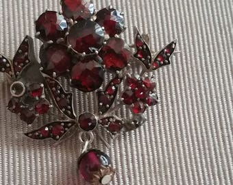 Antique Victorian Gold Gilt Sterling silver and Garnet Pin