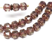 Smokey Topaz czech glass beads 6mm cathedral round fire polished beads Golden ends Brown Pink beads 20Pc - 0017