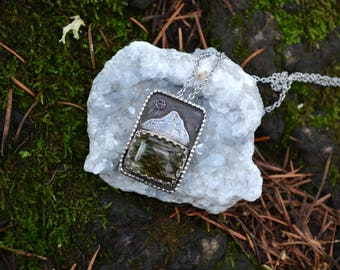 Mt. Hood Real Preserved Moss Resin Sterling Silver Boho Botanical Pendant with Iolite OOAK