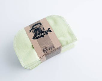 Reusable Baby Wipes Cloth Wipes Set of 20 Baby Wipes -  Celery Green  Reusable Flannel Wipes