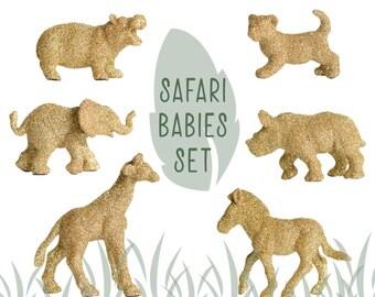 Safari BABY Animal Set of SIX Gold Glitter Critters. Elephant, Hippo, Giraffe, Zebra, Lion and Rhinoceros. Unisex Baby Shower, Nursery Decor