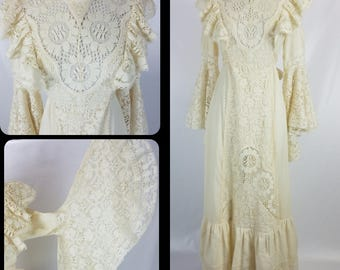 Vintage Crochet Lace Bell Sleeve Ivory Boho Renaissance High Neck Muslin Gauze Dress Medium