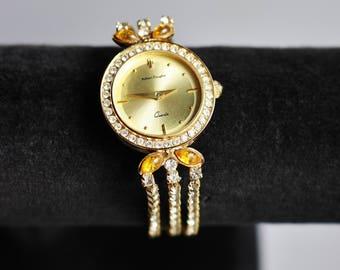 Vintage Retro 1950s 60s Robert Dauphin Watch Wristwatch Rhinestones Gold Tone Metal