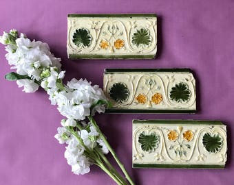 3 Antique Majolica Art Nouveau Tile Tiles Set of 3 Deep Bottle Green and Yellow Floral Border tiles