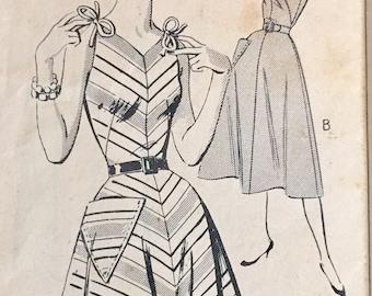 """Vintage 1950s New Style Misses' Sundress Dress Pattern 2117 Size 12 (30"""" Bust) XXS"""