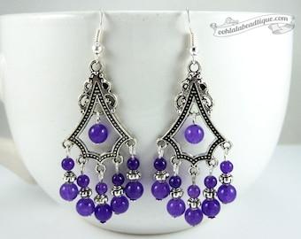 Purple statement earrings purple earrings birthstone jewelry boho earrings gypsy long earrings hippie chandelier earrings gift for wife