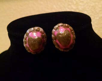 Hand-painted clay pink and gold heart earrings