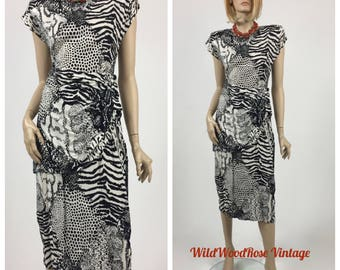 Vintage 1980's Black & White Animal Print Rayon Challis Wiggle Dress - 80's Does The 40's - Peplum Waist - Shoulder Pads - Size 8