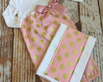Baby Girl Gift Set - 2 Piece - Layette Gown with Burp Cloth - Baby Gown, Infant Gown, Layette - Blush Pink and Gold Polka Dot