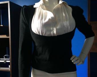 Vintage Black and White Sweater 1980 Secretary