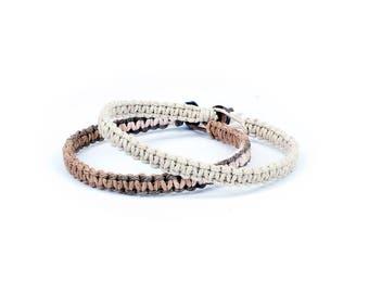 Natural Bracelet, Minimalist Bracelets, Couples Bracelets, Vegan Bracelets, Tan Bracelet, Hemp Bracelets, Two Bracelets