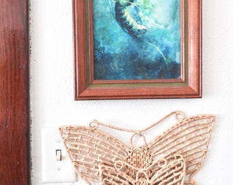 Butterfly Tan Wall Hanging- Kid's Room Decor- Nursery- Woven Wall Pocket