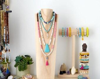 Pink Druzy Tassel Wood Necklace